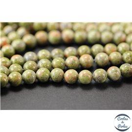 Perles semi précieuses en unakite - Rondes/6 mm - Vert rose