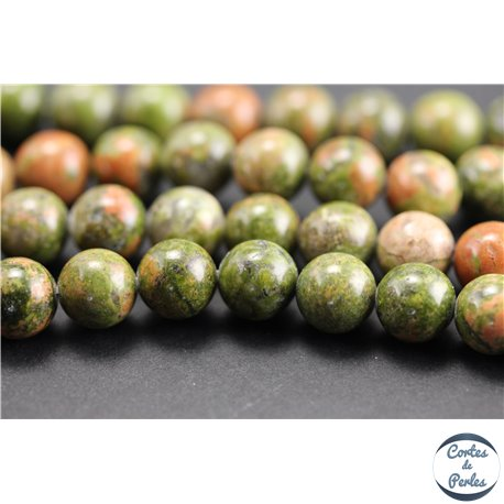 Perles semi précieuses en unakite - Rondes/8 mm - Vert rose