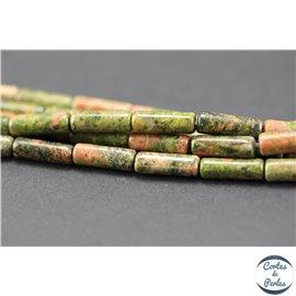 Perles semi précieuses en unakite - Tubes/4 mm - Vert rose