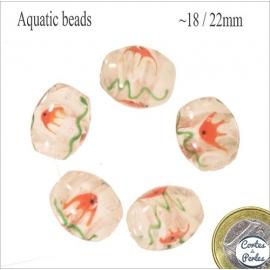 Perles Aquarius de Murano - Ovale/18 mm - Blanc