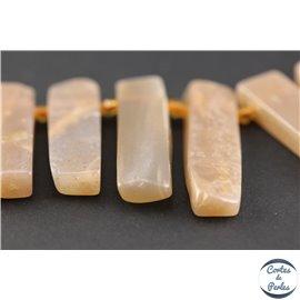 Perles semi précieuses en pierre de lune - Rectangles/20 - 45 mm - Rose pâle