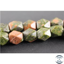 Perles semi précieuses en unakite - Pépites/9 mm - Vert rose