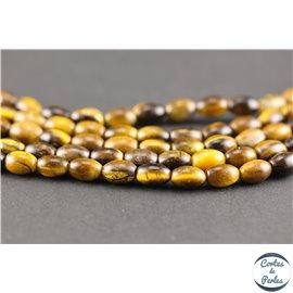 Perles semi précieuses en oeil de tigre - Olives/6 mm - Marron