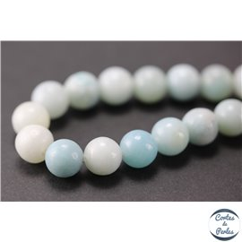 Perles semi précieuses en amazonite - Rondes/8 - 9 mm - Aquamarine light - Grade A