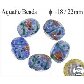 Perles Aquarius de Murano - Ovale/18 mm - Bleu