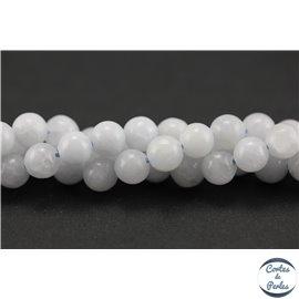 Perles semi précieuses en calcite - Rondes/6 mm - Blanc