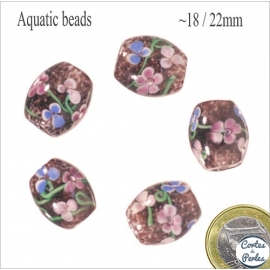 Perles Aquarius de Murano - Ovale/18 mm - Rose
