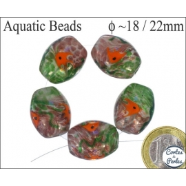 Perles Aquarius de Murano - Ovale/18 mm - Vert