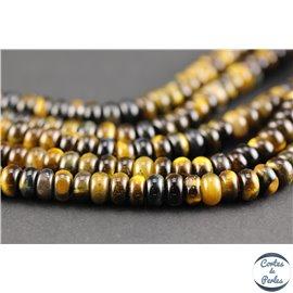 Perles semi précieuses en oeil de tigre - Roues/8 mm - Marron