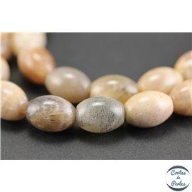 Perles semi précieuses en pierre de soleil - Olives/10 mm - Rose saumon