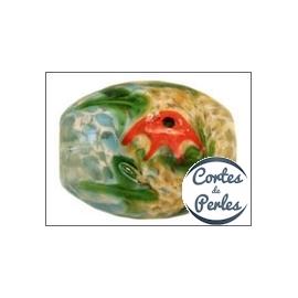 Perles Aquarius de Murano - Ovale/19 mm - Jaune