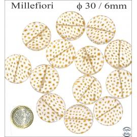 Perles Millefiori de Murano - Disque/30 mm - Jaune