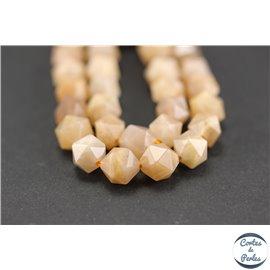 Perles semi précieuses en pierre de soleil - Pépites/7 mm - Rose saumon