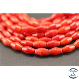 Perles semi précieuses en corail - Toupies/4 - 5 mm - Rouge