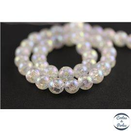 Perles semi précieuses en cristal crack - Rondes/7 mm - Transparent nacré