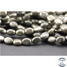 Perles semi précieuses en pyrite - Ovales/8 mm - Gris métal