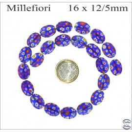Perles Millefiori de Murano - Ovale/16 mm - Bleu