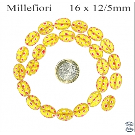 Perles Millefiori de Murano - Ovale/16 mm - Jaune