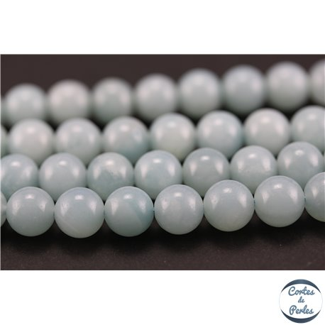 Perles semi précieuses en amazonite - Rondes/8 mm - Turquoise light - Grade AA