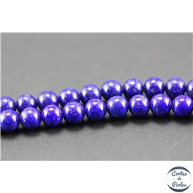 Perles semi précieuses en lapis lazuli - Rondes/6 mm - Bleu lapis