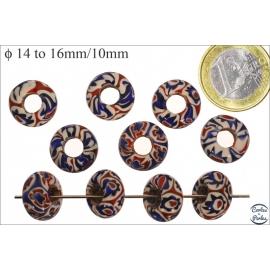 Perles de Goulimine & Pandora - Donuts/14 mm - Bleu