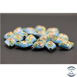 Perles chinoises cloisonnées - Losanges/20 mm - Turquoise
