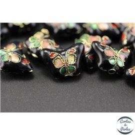 Perles chinoises cloisonnées - Papillons/14 mm - Noir avec motifs