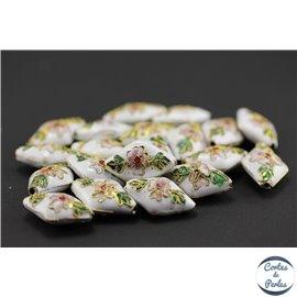 Perles chinoises cloisonnées - Losanges/20 mm - Blanc