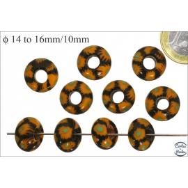 Perles de Goulimine & Pandora - Donuts/14 mm - Jaune