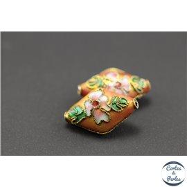 Perles chinoises cloisonnées - Losanges/20 mm - Rose orangé