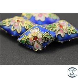 Perles chinoises cloisonnées - Losanges/20 mm - Bleu roi