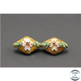 Perles chinoises cloisonnées - Losanges/20 mm - Cuivré