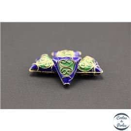 Perles chinoises cloisonnées - Triangles/12 mm - Bleu roi