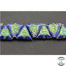Perles chinoises cloisonnées - Triangles/12 mm - Bleu Capri