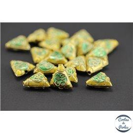 Perles chinoises cloisonnées - Triangles/12 mm - Vert et doré