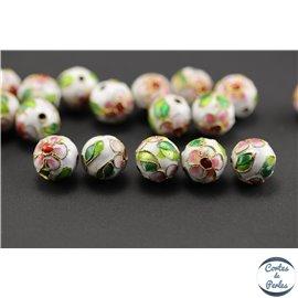 Perles chinoises cloisonnées - Rondes/12 mm - Blanc