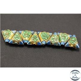 Perles chinoises cloisonnées - Triangles/12 mm - Bleu et doré