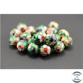 Perles chinoises cloisonnées - Rondes/12 mm - Vert