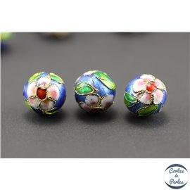 Perles chinoises cloisonnées - Rondes/12 mm - Bleu roi