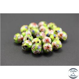 Perles chinoises cloisonnées - Rondes/12 mm - Vert clair