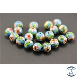 Perles chinoises cloisonnées - Rondes/12 mm - Turquoise