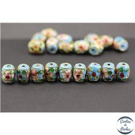 Perles chinoises cloisonnées - Tonneaux/10 mm - Turquoise