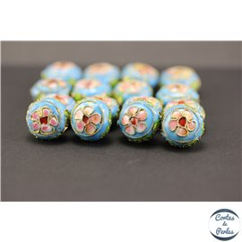 Perles chinoises cloisonnées - Rondes/14 mm - Turquoise