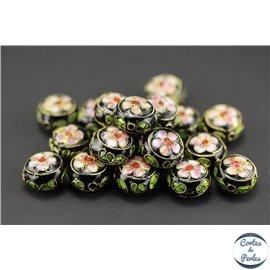 Perles chinoises cloisonnées - Rondes/14 mm - Noir
