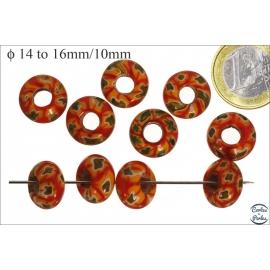 Perles de Goulimine - Donuts/14 mm - Rouge et orange