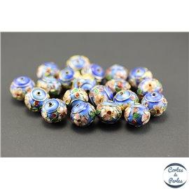 Perles chinoises cloisonnées - Roues/12 mm - Bleu roi