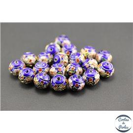 Perles chinoises cloisonnées - Roues/12 mm - Bleu Capri