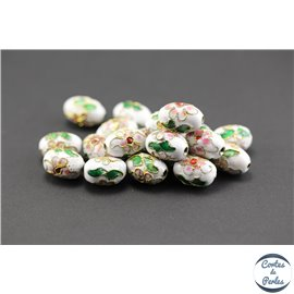 Perles chinoises cloisonnées - Ovales/15 mm - Blanc