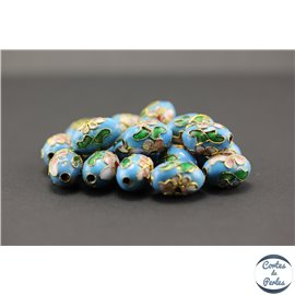 Perles chinoises cloisonnées - Ovales/15 mm - Turquoise