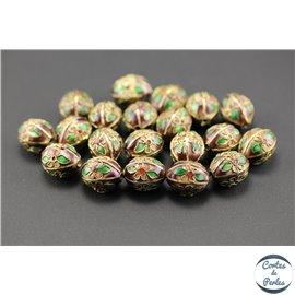 Perles chinoises cloisonnées - Ovales/14 mm - Marron